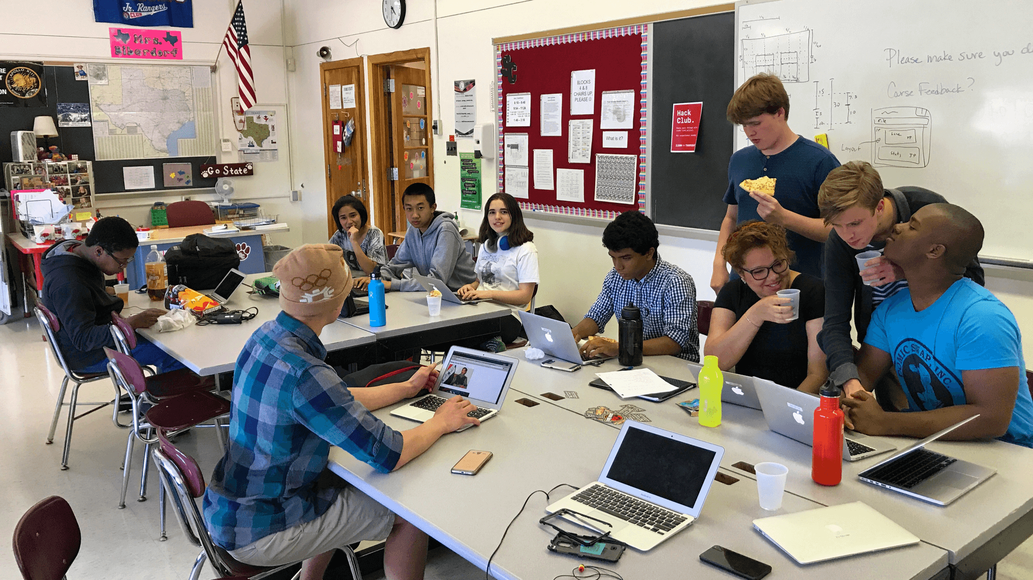 Hack Club meeting at State College Area High School, 2017-06-01